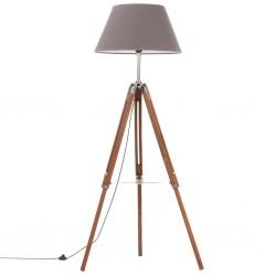 stradeXL Lampa podłogowa na trójnogu, brązowo-szara, tek, 141 cm