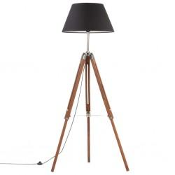 stradeXL Lampa podłogowa na trójnogu, brązowo-czarna, tek, 141 cm