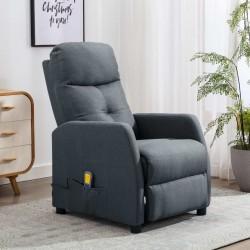 stradeXL Rozkładany fotel masujący, jasnoszary, tapicerowany tkaniną