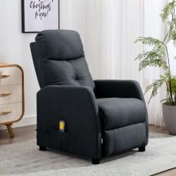 stradeXL Rozkładany fotel masujący, ciemnoszary, tapicerowany tkaniną