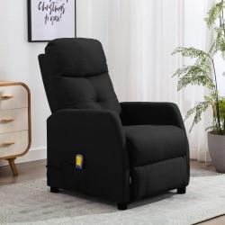 stradeXL Rozkładany fotel masujący, czarny, tapicerowany tkaniną