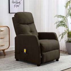 stradeXL Rozkładany fotel masujący, brązowy, tapicerowany tkaniną