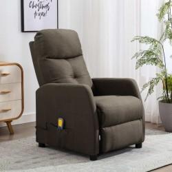stradeXL Rozkładany fotel masujący, kolor taupe, tapicerowany tkaniną