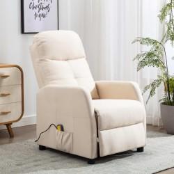 stradeXL Rozkładany fotel masujący, kremowy, tapicerowany tkaniną