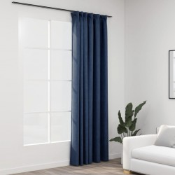 stradeXL Linen-Look Blackout Curtains with Hooks Blue 290x245 cm