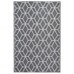 Esschert Design Outdoor Rug Graphics 180x121 cm Grey and White OC25