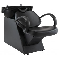 stradeXL Myjnia fryzjerska, fotel z umywalką, czarna, sztuczna skóra