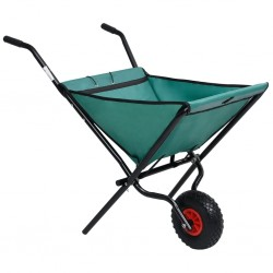 stradeXL Folding Garden Wheelbarrow 60 L Green
