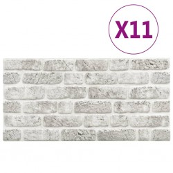 stradeXL Panele ścienne 3D, wzór jasnoszarej cegły, 11 szt., EPS