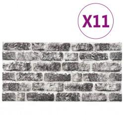 stradeXL Panele ścienne 3D, wzór ciemnoszarej cegły, 11 szt., EPS