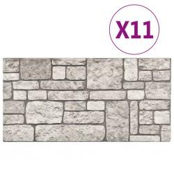 stradeXL Panele ścienne 3D, wzór szarej cegły, 11 szt., EPS