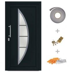 stradeXL Drzwi wejściowe zewnętrzne, antracytowe, 108 x 200 cm
