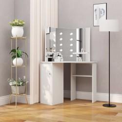 stradeXL Narożna toaletka z oświetleniem LED, biała