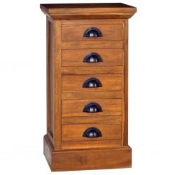 stradeXL Komoda z 5 szufladami, 35x30x60 cm, lite drewno tekowe