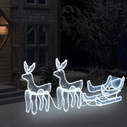 stradeXL 2 świąteczne renifery z saniami z lampek, z siateczką, 320 LED