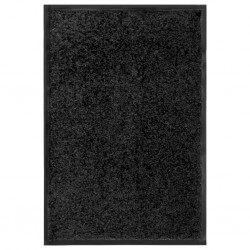 stradeXL Wycieraczka z możliwością prania, czarna, 40 x 60 cm