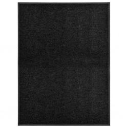stradeXL Wycieraczka z możliwością prania, czarna, 90 x 120 cm
