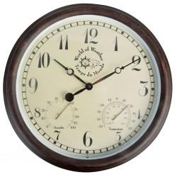 Esschert Design Zegar dworcowy z termo- i higrometrem, 30,5 cm, TF008