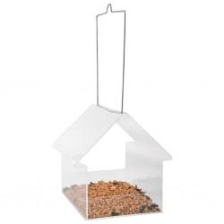 Esschert Design Wiszący karmnik dla ptaków w kształcie domku, akrylowy