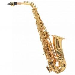 stradeXL Saksofon altowy, żółty mosiądz o złotym wykończeniu, strój Eb