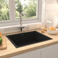 stradeXL Zlew kuchenny z otworem przelewowym, czarny, granitowy