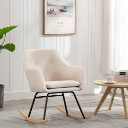 stradeXL Fotel bujany, kremowy, tapicerowany tkaniną