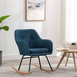 stradeXL Fotel bujany, niebieski, tapicerowany tkaniną