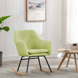 stradeXL Fotel bujany, zielony, tapicerowany tkaniną