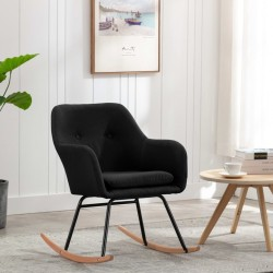 stradeXL Fotel bujany, czarny, tapicerowany tkaniną