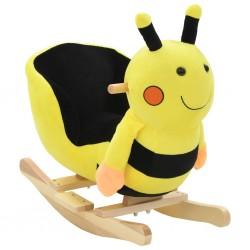 stradeXL Pszczółka na biegunach z oparciem, pluszowa, 60x32x57 cm, żółta