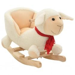 stradeXL Owca na biegunach z oparciem, pluszowa, 60x32x50 cm, biała