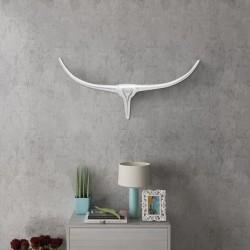 Srebrna ozdoba ściany bycze rogi z aluminium 75 cm