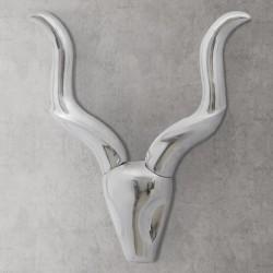 stradeXL Ozdobna głowa gazeli, dekoracja z aluminium, srebrna, 50 cm