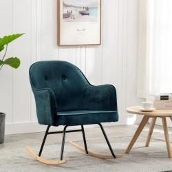 stradeXL Fotel bujany, niebieski, tapicerowany aksamitem