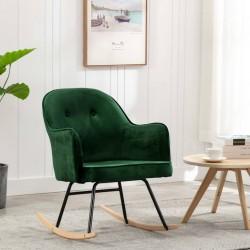 stradeXL Fotel bujany, ciemnozielony, tapicerowany aksamitem