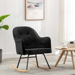 stradeXL Fotel bujany, czarny, tapicerowany aksamitem