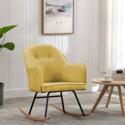 stradeXL Fotel bujany, musztardowy, tapicerowany aksamitem