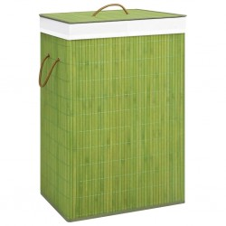 stradeXL Bambusowy kosz na pranie, zielony, 72 L