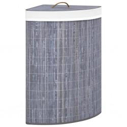 stradeXL Bambusowy kosz na pranie, narożny, szary, 60 L