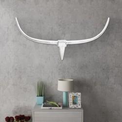 Srebrna ozdoba ściany bycze rogi z aluminium 125 cm