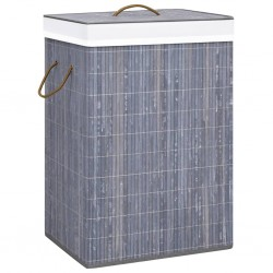 stradeXL Bamboo Laundry Basket Grey 72 L