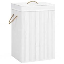stradeXL Bambusowy kosz na pranie, biały, 72 L