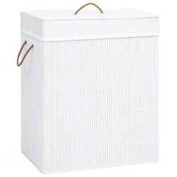 stradeXL Bambusowy kosz na pranie, biały, 100 L