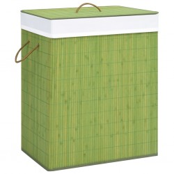 stradeXL Bambusowy kosz na pranie, zielony, 100 L