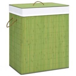 stradeXL Bambusowy kosz na pranie, zielony, 83 L