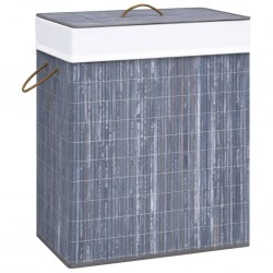 stradeXL Bamboo Laundry Basket Grey 83 L