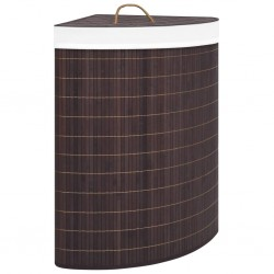 stradeXL Bambusowy kosz na pranie, narożny, brązowy, 60 L