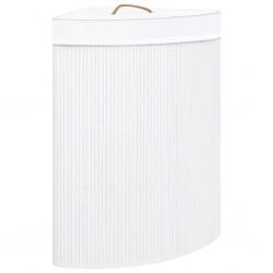 stradeXL Bambusowy kosz na pranie, narożny, biały, 60 L