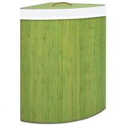 stradeXL Bambusowy kosz na pranie, narożny, zielony, 60 L