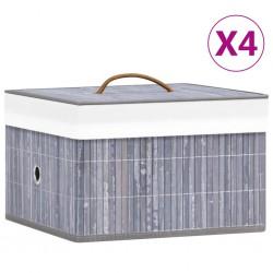 stradeXL Bambusowe pojemniki do przechowywania, 4 szt., szare